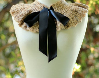 Corner Cafe Fashion Collar - Tan with Black Ties - Victorian Capelet