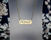 Klingon Star Trek Necklace Qapla' Frosted Brass Pendant, Star Trek Jewelry, Geek Gift Idea, Geek Jewelry, Geek Jewellery