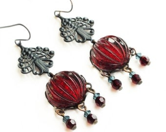 Red Chandelier Earrings Vintage Dark Red Earrings Red Glitter Jewelry Garnet Red Earrings Lace Filigree Victorian
