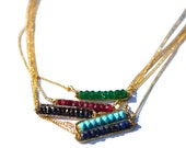 Choker Necklace, Birthstone Bar Necklace, Gold Bar Layering Necklace