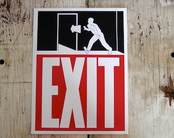 Lot of 5 vintage large EXIT stickers text running man figure arrow door graphic design rocker goth punk DIY altered art supply collage decor