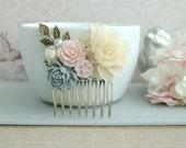 Pink Grey Flower Comb Bridal Comb Wedding Comb Ivory Pink Grey Ivory Wedding Vintage Pink Rustic Comb, Wedding Floral Comb, Garden Wedding