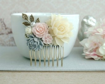 Pink Grey Flower Comb Bridal Comb Wedding Comb Ivory Pink Grey Ivory Wedding Vintage Pink Rustic Comb, Wedding Floral Comb, Garden Wedding