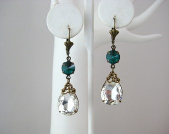 Art Deco Style Swarovski Emerald and Clear Crystal Teardrop Longish Dangle Earrings, Any Day Everyday Earrings