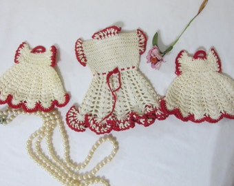 Crocheted Potholders Set of 3 Red and White