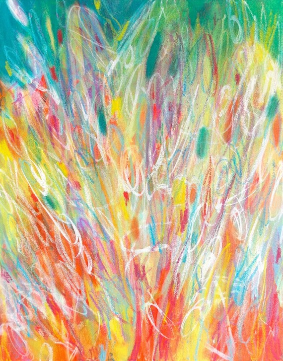Original Abstract Expressionist Painting Acrylic 16x20 Canvas Wall Art Bright Colorful Contemporary Home Decor Carnival by Jessica Torrant