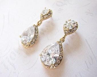 Gold Vintage Style Wedding Earrings, 1920s Earrings, Gold Bridal earrings, Gold Teardrop earrings, pear shaped earrings - 'CAMILLE'