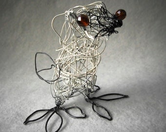 Pug Bird Figurine, Wire Sculpture, Surreal Animal, Gift Idea,  Pug Dog Decor, Pug Dog Ornament, Stuffing Stocker, Dog Lover Gift