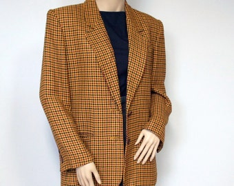 Jacket Plaid Blazer 1980's Ann Taylor Jacket Women's Vintage Back to School Gold Coat Mustard Yellow Size 6
