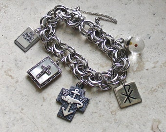 Symbols of Faith ~ HUGE Vintage ETON Sterling Silver Christian Religious Medals & Locket Charm Bracelet - 60G