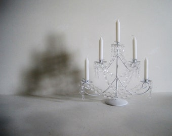 Shabby Chrstimas Tree Snow White Candelabra