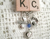 Kansas City Blue crystal Charm ScrabbleNecklace I love Baseball KC Scrabble I love baseball mini floating charm baseball