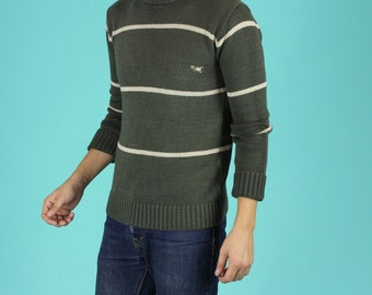 Olive Green Striped Sweater - S / M