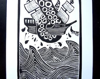 LINOCUT PRINT - Kraken attacking BLACK linoleum block print 8x10 ship and octopus poster