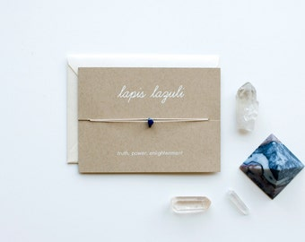 Lapis Lazuli - Crystal Card - friendship necklace or bracelet - gold - turquoise - bridesmaid gift - birthday - best friends - bff - love