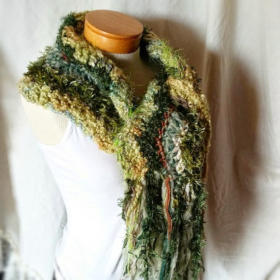 fuzzy chevron scarf green gold crochet by 910woolgathering