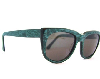 80s Rare ROCCO Rodenstock Sunglasses Shades Women's 1980s Vintage Designer Green Envy Frames Model 001
