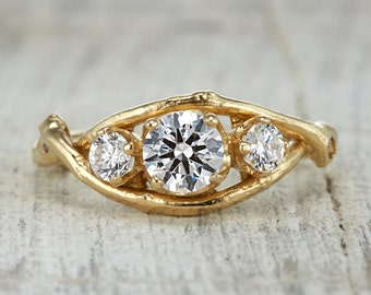 Harmony Engagement Ring - 14kt Gold and White Sapphire, Moissanite or Diamond Customizable Twig Engagement Wedding Ring