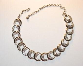 Vintage Silver Tone Clear Rhinestone Necklace (N-2-4)