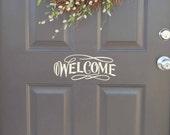 Welcome front door decal, Welcome vinyl lettering for door, Welcome door decal, Welcome door sticker, vinyl door decal, front porch (W01300)