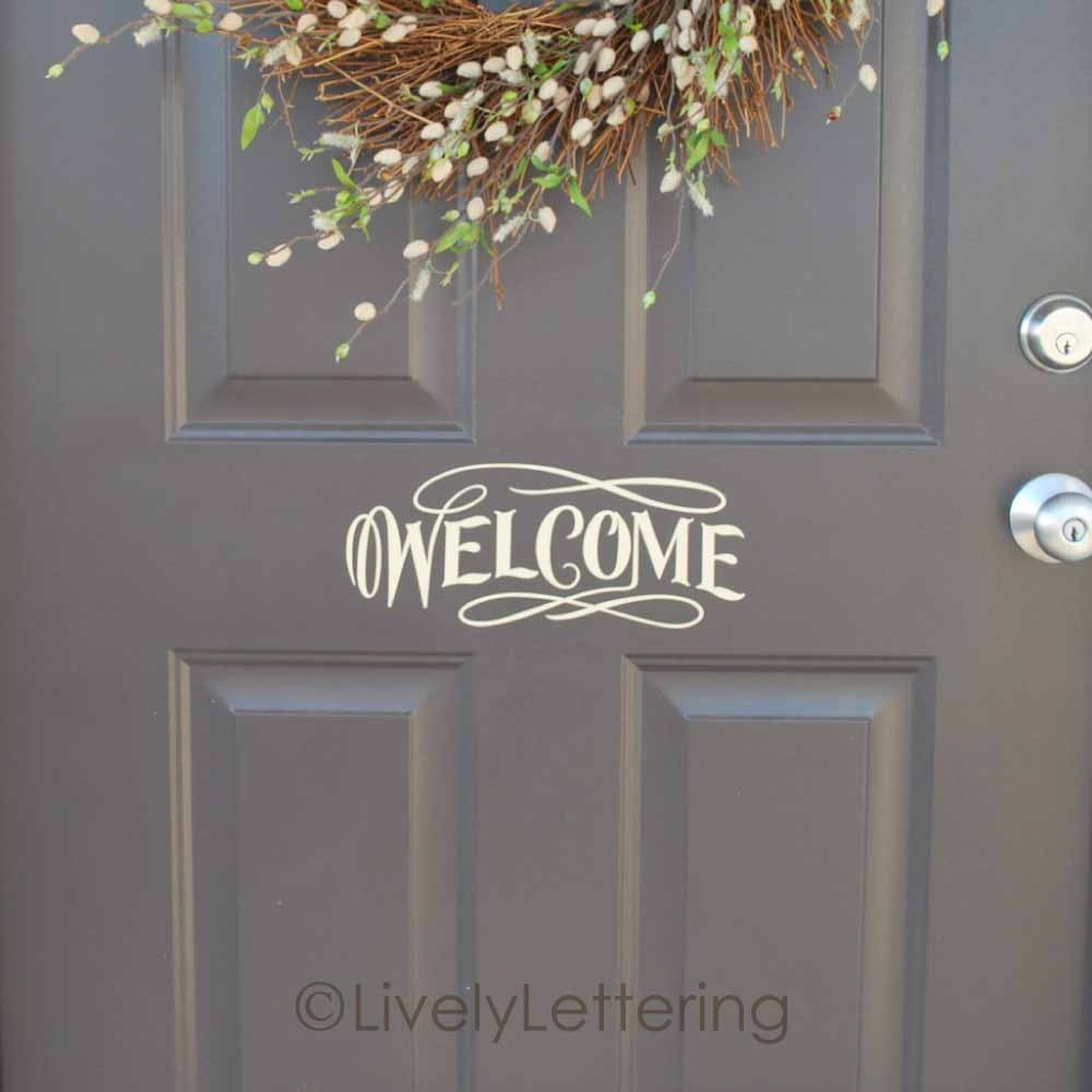 Welcome front door decal welcome vinyl lettering for door for Door vinyl design