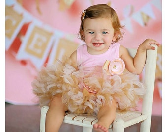 Pink and Gold Tutu, Baby Birthday Dress, Girls Tutu Dresses
