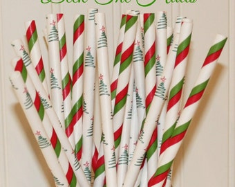 Paper Straws, 25 Deck The Halls Christmas Party Straws, Red Paper Straws, Green Paper Straws, Christmas Tree Paper Straws, Holiday Party