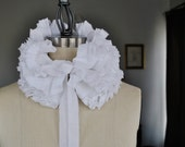 White hand pleated collar/Totally hand made/Detachable Ruffle Collar/Ruffle scarf/Ruffle collar/ Ruffled Fashion/Bohemian collar/ rusteam