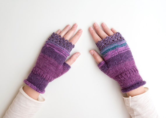 Knitting Pattern For Texting Mittens : Texting Gloves, Texting Fingerless Mittens in Purple Violet, Unique Wool Mittens