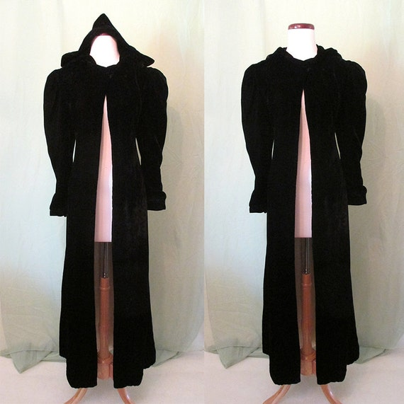 Luscious 1930's Black Velvet Long Formal Coat with a Hood Old Hollywood Glamour Starlet Gothic Art Deco Size-Small