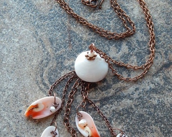 Tassel necklace, seashell necklace, long necklace, mermaid necklace, peaches and cream, natural shells, freshwater pearl, mermaid jewelry