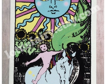 Tarot card The Sun Rider Waite art print postcard