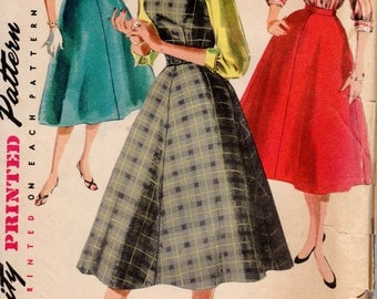 1950s Fitted Dress Flared Skirt Blouse - Vintage Pattern Simplicity 1246 - Bust 38 UNCUT FF