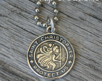 Saint Christopher Necklace Sterling Silver