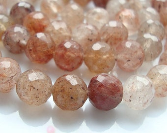 Genuine Red Shaded Rutilated Quartz Faceted Round beads, 8 mm Disco Balls - 16 strand - Full Strand