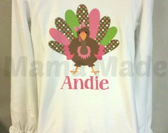 Personalized Green, Pink and Brown Polka Dot Turkey Shirt or Bodysuit Pink Turkey Shirt Pink and Green Turkey Shirt GIrls Thanksgiving Shirt