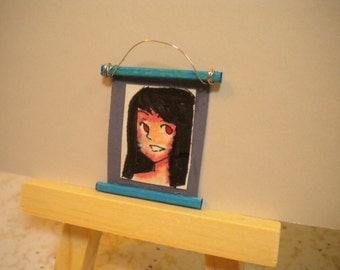 OOAK Miniature Scroll Picture Hand Drawn Hand Painted Big Eyed Girl
