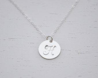 Silver Disc Initial Necklace - sterling silver 1/2 inch disc round personalized charm Monogram Font hand stamped pendant gift jewelry