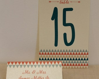 Arrow Escort Card and Table Number