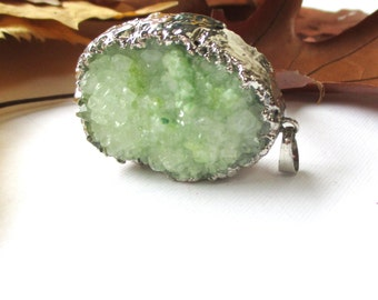 Green Druzy Geode Pendant - Druzy Edged Silver - Rough Surface Crystal - Large Gemstone Pendant - Select with/without Chain - Christmas Gift