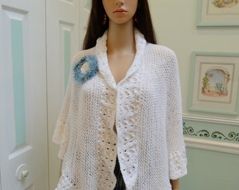 PRINCESS KATE Middleton style shawl, white, with removable hand crocheted brooch, lacey ruffled edges.