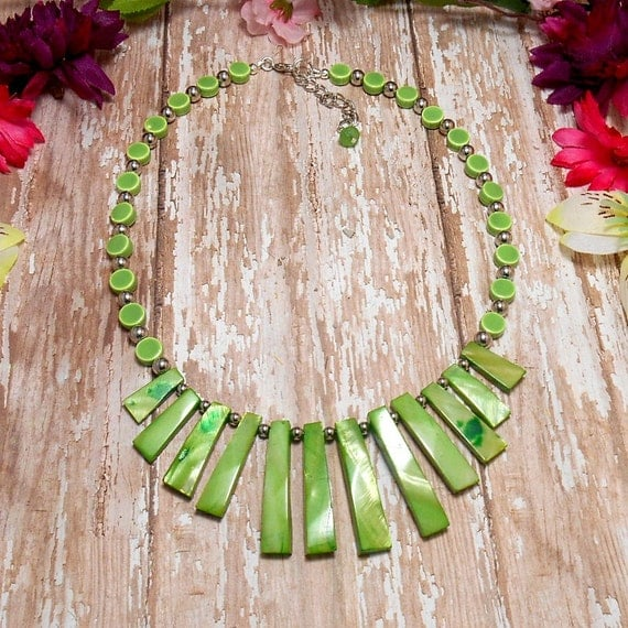 Green Fan Necklace - Shell & Porcelain Necklace - OOAK - Statement Necklace - Green Beaded Necklace - Free US Shipping