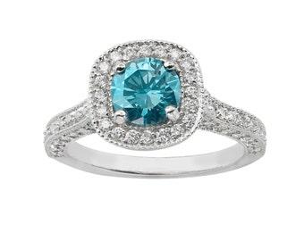 1.85 Carat Fancy Blue & White Diamond Engagement Ring 14k White Gold Halo Certified HandMade Pave Set