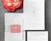 INVITATION SAMPLE Silver Foil with Coral Letterpress Wedding Invitation Sample Set - Bourne Glam Design - by Sincerely, Jackie