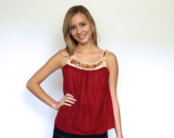 70s Brick Red Floral Crochet Sheer Gauzy Tank Top xxs xs