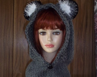Animal Hooded Cowl  /  Chunky Wolf Hats /  Wolf Animal Knit Hat and Scarf / Chunky Wolf Hooded Cowl