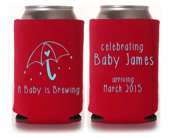 Baby Shower Favors - A Baby is Brewing Personalized Can Coolers, Coed Gender Reveal Party Gifts, Stubby Holders, Beer Insulators, Can Coolie