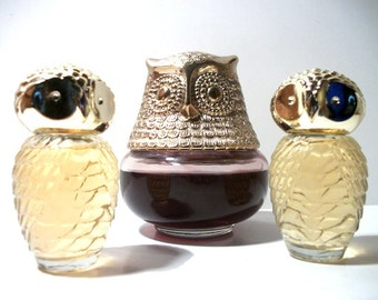 Avon An Owl with Two Owlets Collectible Glass Bottles Owl Figurines