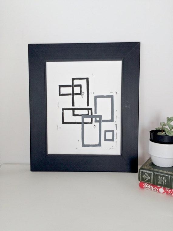 Linocut Geometric Mid Century Modern art POSTER Black and Gray Squares 8x10