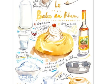 French cake recipe poster, Baba au rhum watercolor illustration, Giclee print, Kitchen decor, Food art, Bakery art, Orange Kitchen wall art